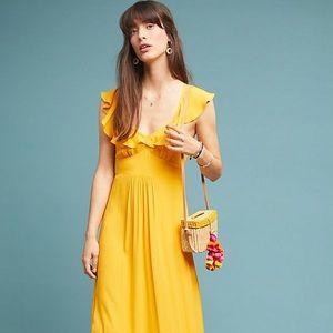 Yellow Anthropologie Ruffle Maxi Dress